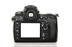 Professional digital camera with blank screen  on white background Royalty Free Stock Photos