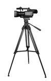 Professional digital camera on tripod. Isolated photo of digital video camera on tripod Royalty Free Stock Photography