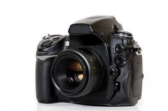 Professional digital camera  on white background Royalty Free Stock Image