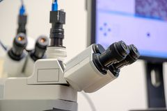 Professional digital microscope science background Stock Image