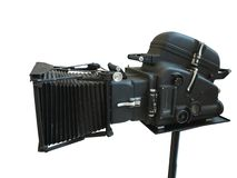 Professional digital movie video camera isolated on white background. Professional digital movie video camera isolated over white background stock photography