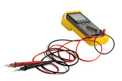 Professional digital multimeter. Isolated on the white background royalty free stock photography