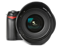 Professional digital photo camera. With huge wide angle lens isolated on white royalty free stock photo