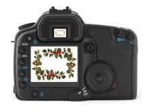 Professional digital photo camera. Back of professional digital photo camera royalty free stock photography
