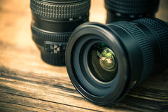 Professional digital photography lens. Close view with reflection royalty free stock images