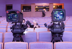 Professional digital video camera. accessories for 4k video cameras. Stock Photos