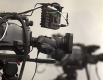 Professional digital video camera. A professional video camera, cinematography in the pavilion Stock Photo