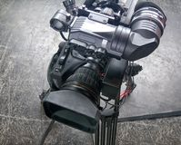 Professional digital video camera. Cinematography in the pavilion Stock Photography
