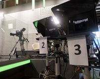 Tv camera in live show pavilion. Professional digital video camera. cinematography in the pavilion royalty free stock images
