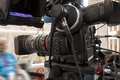 Tv camera in live show pavilion. Professional digital video camera. cinematography in the pavilion stock images