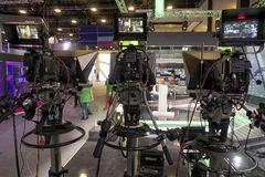 Tv camera in live show pavilion. Professional digital video camera. cinematography in the pavilion stock photo