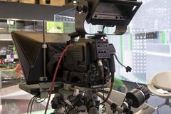 Tv camera in live show pavilion. Professional digital video camera. cinematography in the pavilion stock photos
