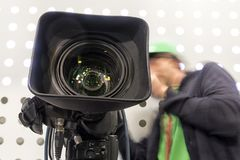 Tv camera in live show pavilion stock photography