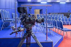 Tv camera in live show pavilion stock photos