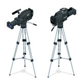 Professional digital video camera set on a tripod. Film lens. Flat 3d vector isometric illustration. Stock Image
