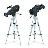 Professional digital video camera set on a tripod. Film lens. Flat 3d vector isometric illustration. Professional digital video camera set on a tripod. Film Stock Image