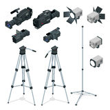 Professional digital video camera set on a tripod. Film lens, television camera. Spotlights realistic transparent. Flat Royalty Free Stock Image