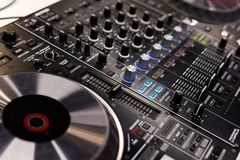 Professional dj controller. Close up of professional dj controller. Selective focus Royalty Free Stock Image