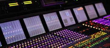 Professional DJ sound mixer. Professional Recording Mixer Console Broadband telecommunication. blurred background. Professional DJ sound mixer. Professional stock photos