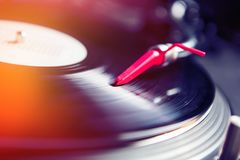 Professional dj turntable with vinyl record disc royalty free stock image