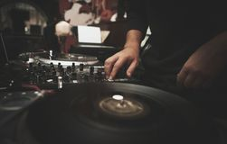 Professional dj turntable vinyl records player royalty free stock photography