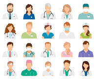Professional doctor avatars. Isolated on white background. Medicine professionals and medical staff people icons vector illustration Royalty Free Stock Photography