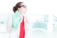 Professional doctor doing refusal gesture. With palm as restriction or rejection concept Royalty Free Stock Image
