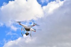 Professional drone with camera for photo and video recording Stock Photography
