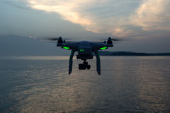 Professional drone with green lights Stock Image