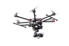 Professional drone on white background. Professional drone isolated on white background Stock Image