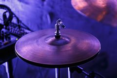 Professional drum kit on stage in night club stock images