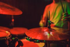 Professional drum set closeup. Drummer with drums, live music concert. royalty free stock photos
