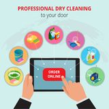 Professional Dry Cleaning To Your Door conept. Hand holding tablet with application house search cleaning service. royalty free illustration
