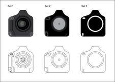 Professional DSLR Camera Icon. Grey Alpha colored professional DSLR camera icons with Vector Files Stock Photography
