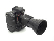 Professional DSLR camera with telephoto lens Stock Photo