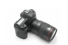 Professional DSLR Digital Camera. With Big Macro Lens on White Background Royalty Free Stock Images