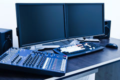 Professional editing station Stock Images