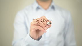 Professional Education , Man writing on transparent screen stock footage