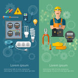 Professional electrical banners electricity energy electric tool royalty free illustration