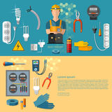 Professional electrical electric man banners Royalty Free Stock Photography