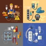 Professional electrical electricity energy electric man set vector illustration