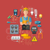 Professional electrical tools electrician. Vector illustration royalty free illustration