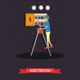 Professional electrician concept vector illustration in flat style. Vector illustration of electrician installing, maintaining or repairing electrical power Royalty Free Stock Photo