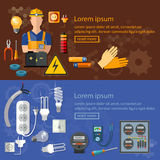 Professional electrician electricity banners electric tools royalty free illustration