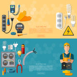 Professional electrician, electricity tools banner vector illustration