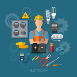 Professional electrician with electricity tools flat vector Royalty Free Stock Image
