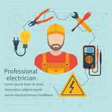 Professional electrician icon. Equipment and tools electrician. Banner concept profession electrician. Isolate icons electricity in flat style. Electrician on Royalty Free Stock Photography