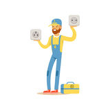 Professional electrician man character standing and holding big sockets, electrical works vector Illustration Royalty Free Stock Image