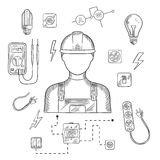 Professional electrician with tools and equipment Stock Images