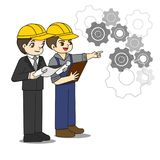 Professional engineer discuss about blueprint Stock Images